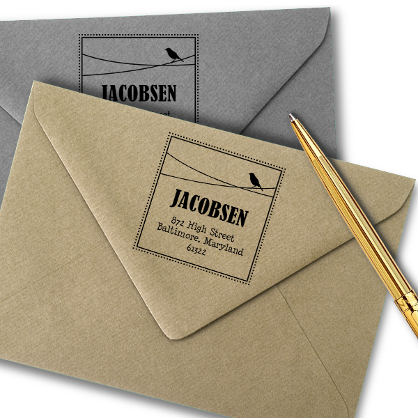 Jacobsen Bird Address Stamp Imprint Example