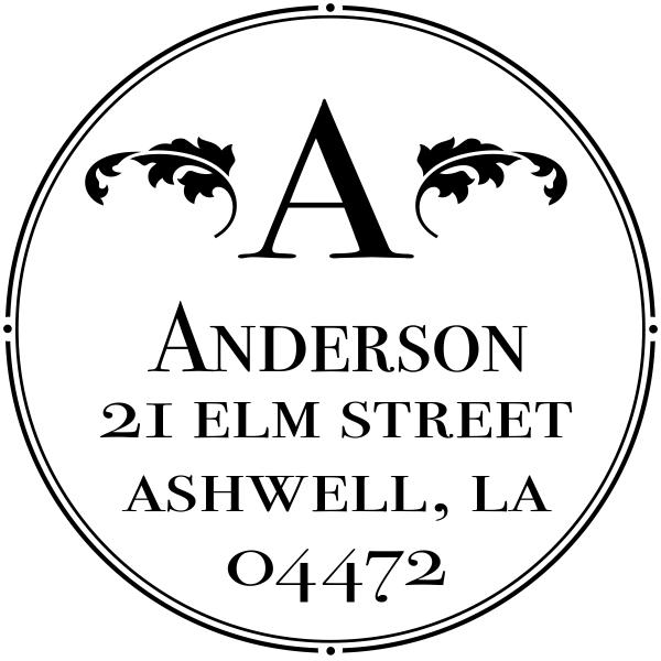 custom round return address stamp