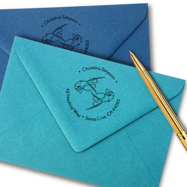 Nautical Lobster Round Address Stamp