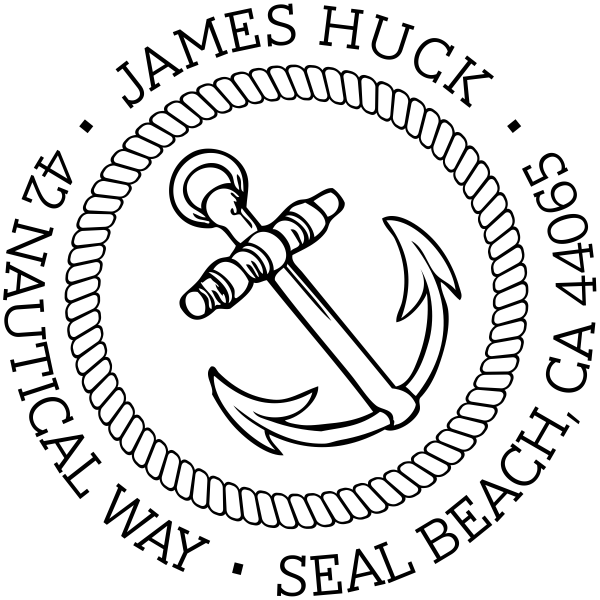 Nautical Anchor Custom Address Stamp