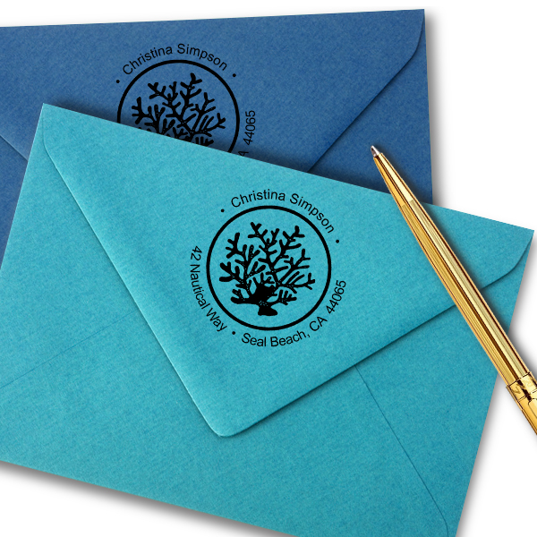 Nautical Coral Reef Round Address Stamp