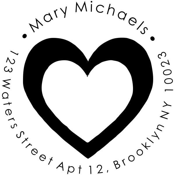 heart rubber address stamp