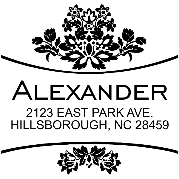 Alexander Curves Square Address Stamp