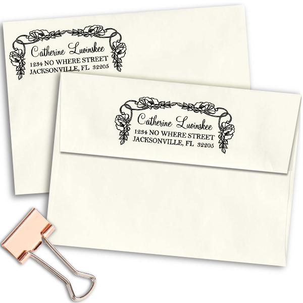 Luoinskee Flowers Address Stamp Imprint Example