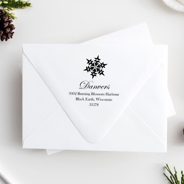 Danvers Snowflake Address Stamp Imprint Example