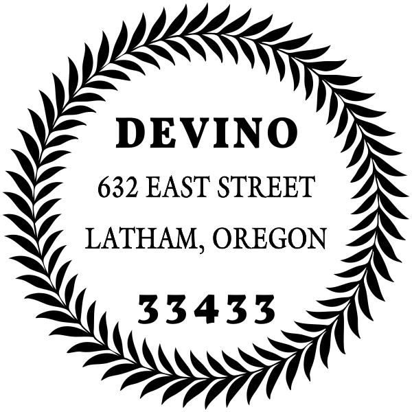 Devino Fern Round Address Stamp