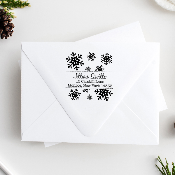 Seville Snowflakes Square Address Stamp Imprint Example