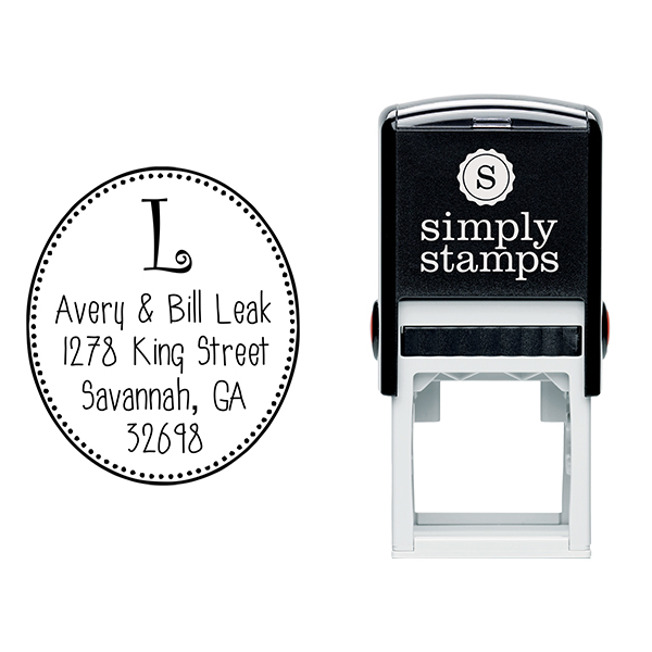 Avery Oval Monogram Address Stamp Body and Design