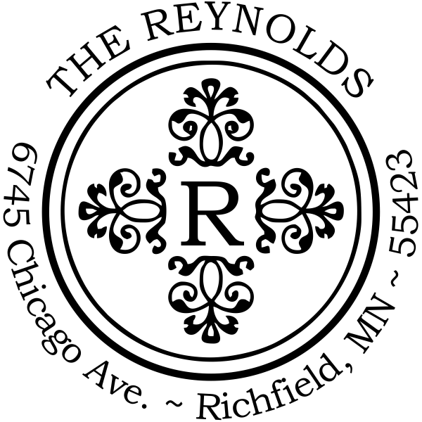 Reynolds Deco Round Address Stamp