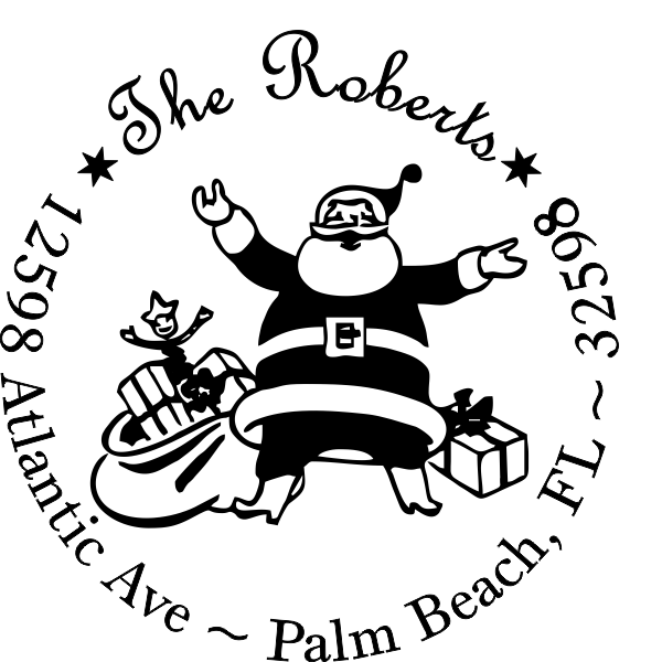 Roberts Santa Round Address Stamp