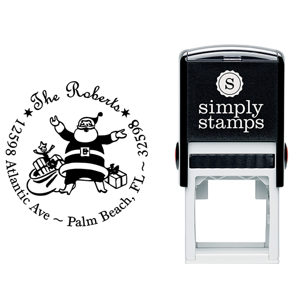 Roberts Santa Round Address Stamp Body and Design