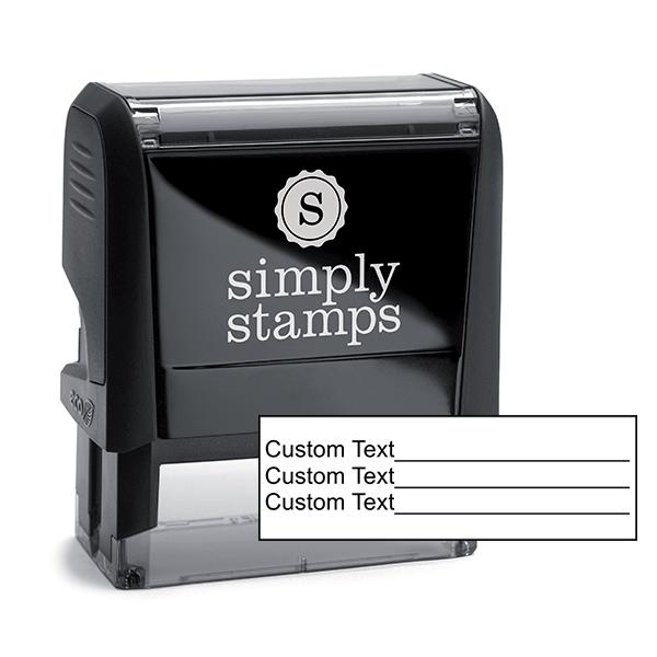 3 Line Form Custom Rubber Stamp