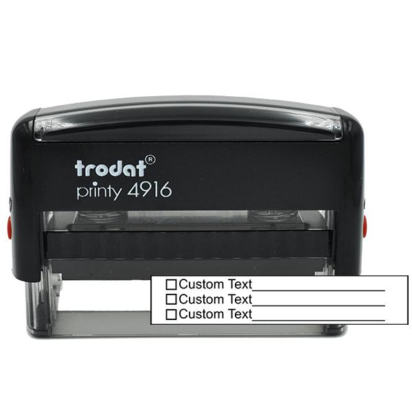 3 Line Box Form Custom Rubber Stamp