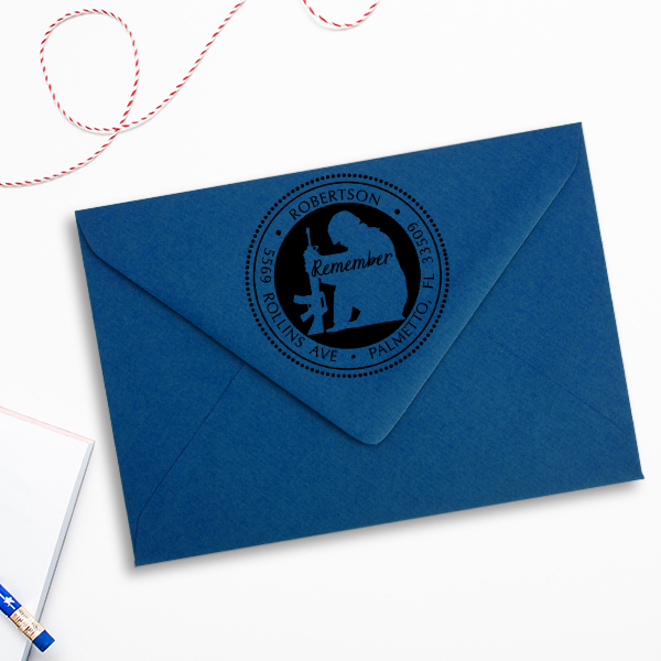 Remember Our Soldiers Address Stamp Imprint Example