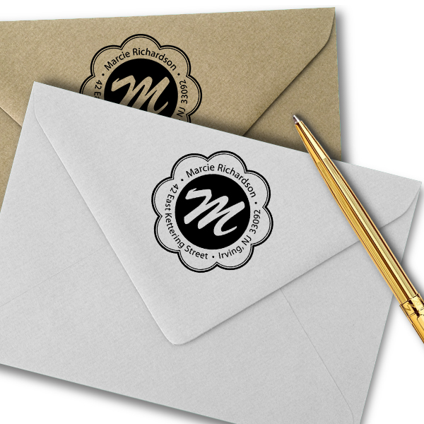 Flower Border Monogram Round Address Stamp Imprint Example