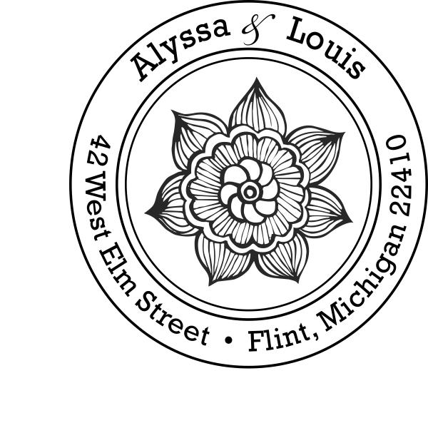 Return Address Flower Stamp