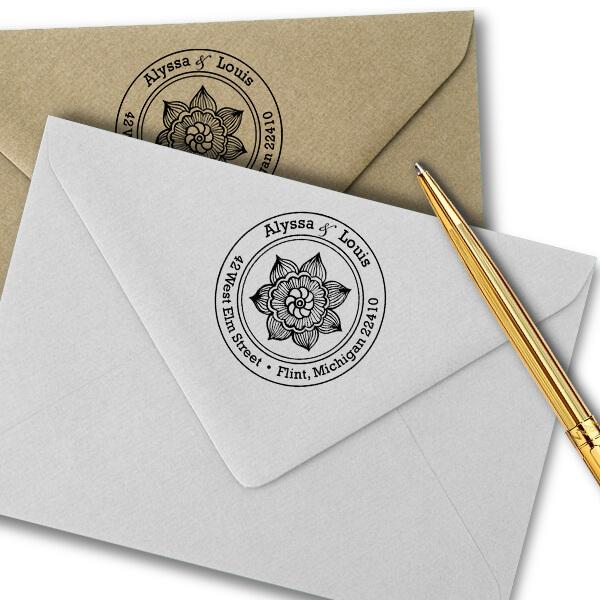 Henna Daisy Flower Return Address Stamp Imprint Example