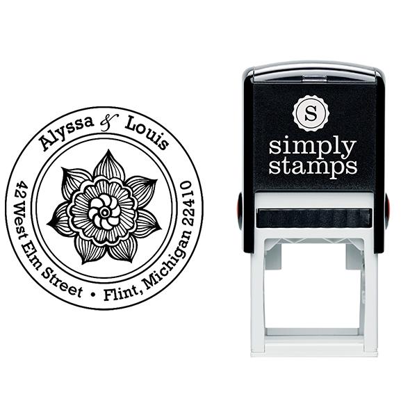 Henna Daisy Flower Return Address Stamp Body and Design