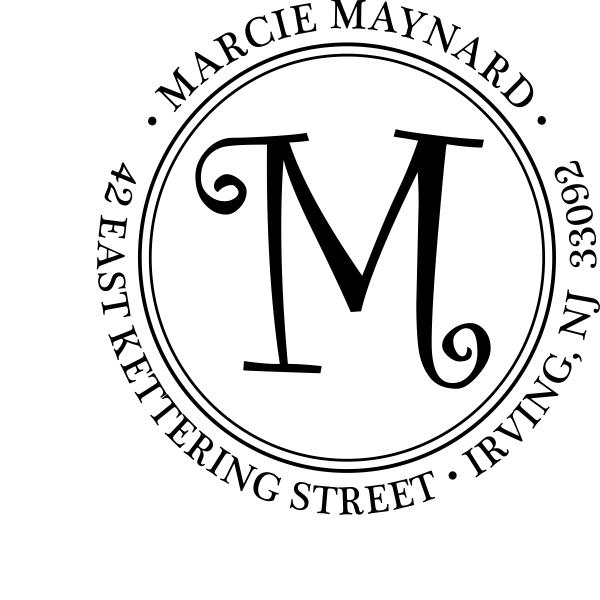 script monogram address stamp