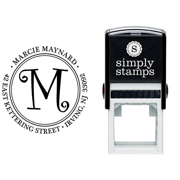 CurlyQ Script Monogram Address Stamp Body and Design