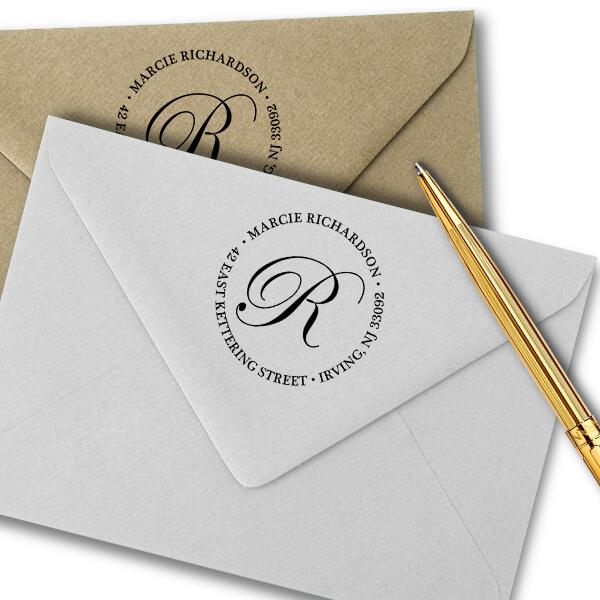 Calligraphy Monogram Return Address Stamp Imprint Example