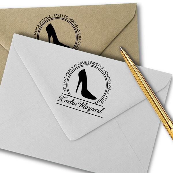 High Heel Calligraphy Script Return Address Stamp Imprint Example