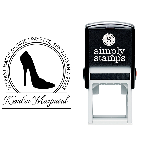 High Heel Calligraphy Script Return Address Stamp Body and Design