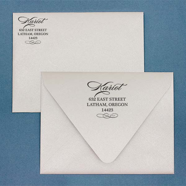 Cursive Deco Bow Return Address Stamp Imprint Example