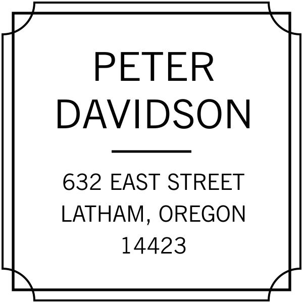 Scalloped address rubber stamp