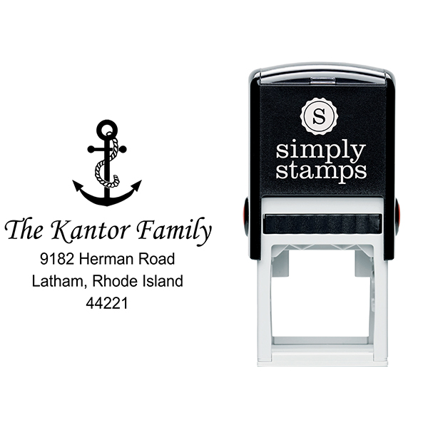 Nautical Rope & Anchor Return Address Stamp Body and Design