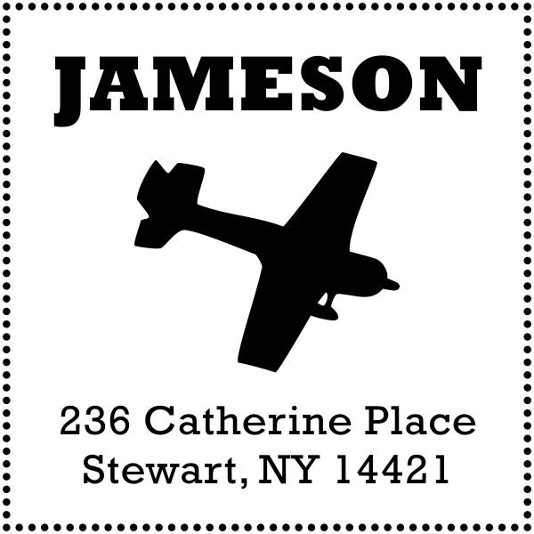 plane rubber address stamp