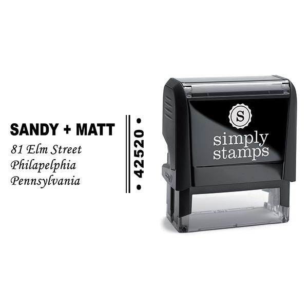 Side Zip Code Cursive Script Return Address Stamp Body and Design