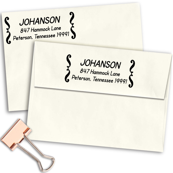 Deco Brackets Return Address Stamp Imprint Example