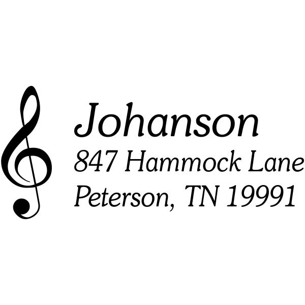 treble clef return address stamp