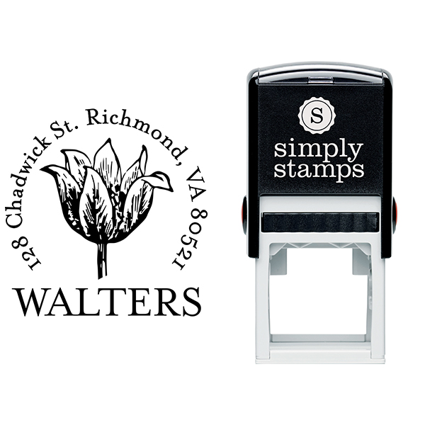 Tulip Flower Sketch Return Address Stamp Body and Design