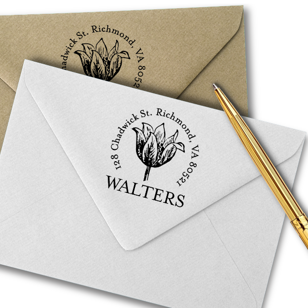 Tulip Flower Sketch Return Address Stamp Imprint Example