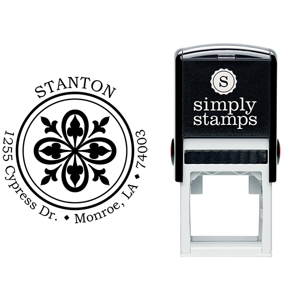 Fleur De Lis Bold Lace Frame Return Address Stamp Body and Design