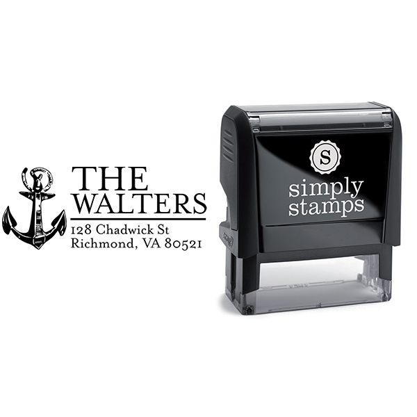 Nautical Sailor Anchor Return Address Stamp Body and Design