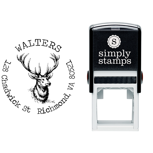 Deer Head Round Return Address Stamp Body and Design