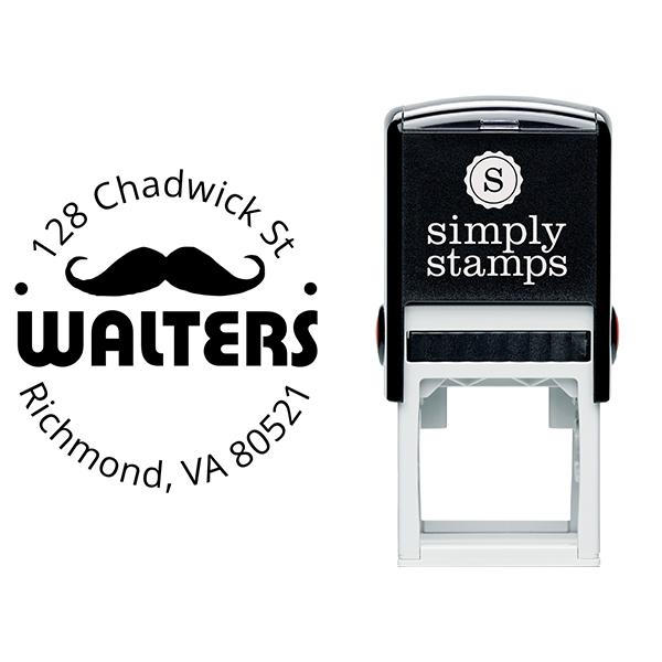 Handlebar Mustache Round Address Stamp Body and Design