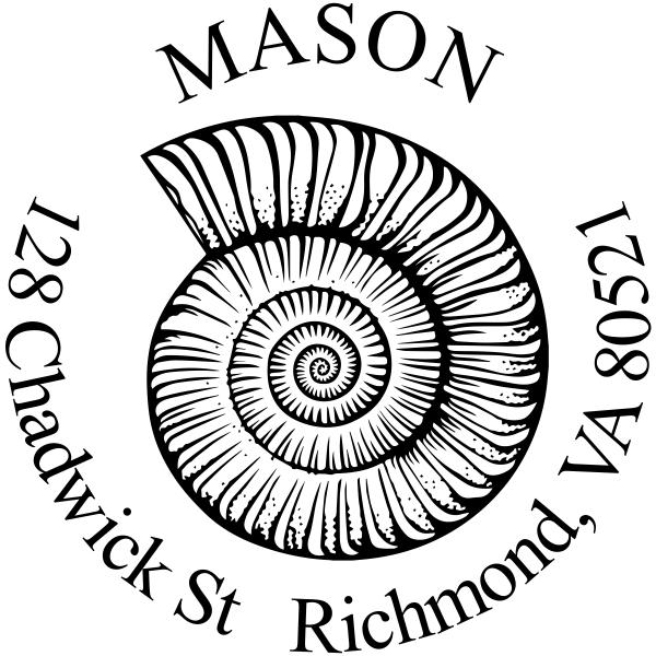 Snail shell rubber address stamp
