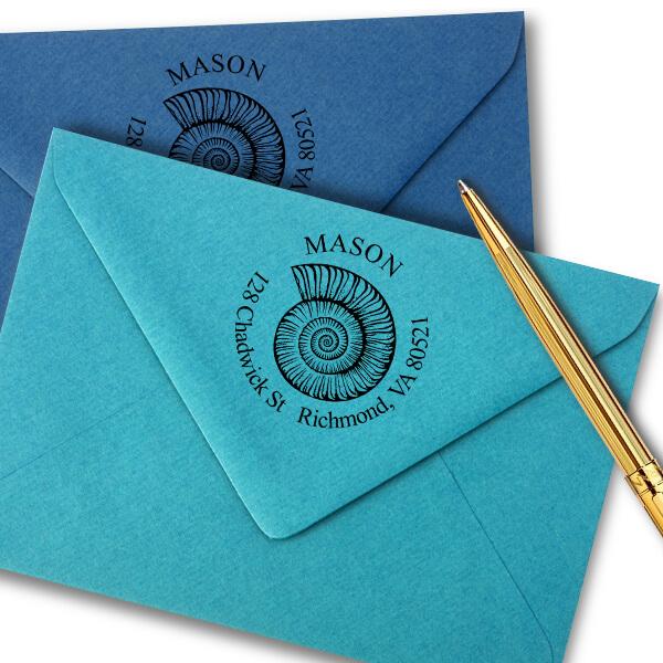 Snail Shell Round Return Address Stamp Imprint Example