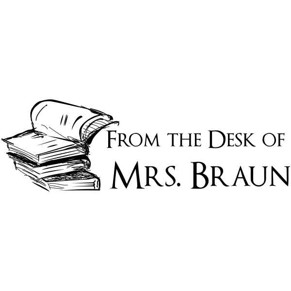 From The Desk Of - Book Stack Rubber Teacher Stamp