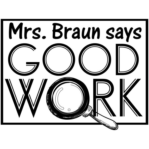 Feedback - Good Work Magnifying Glass Rubber Teacher Stamp