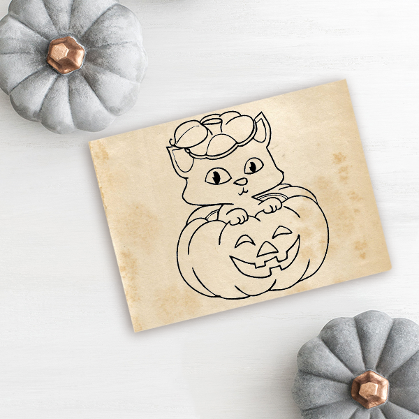 Kitten Pumpkin Halloween Rubber Stamp Imprint Example