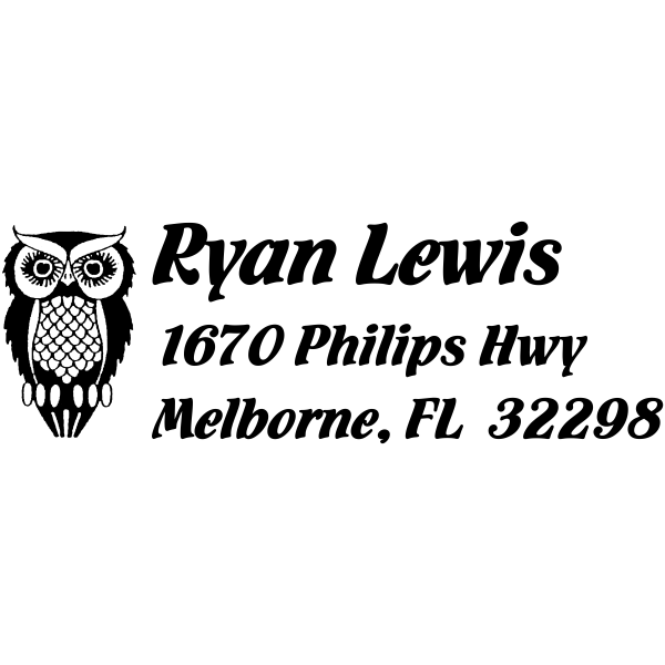Self Inking Owl rubber Address stamp