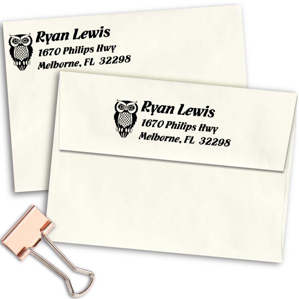 Owl Return Address Stamp Imprint Example