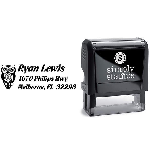 Owl Return Address Stamp Body and Design