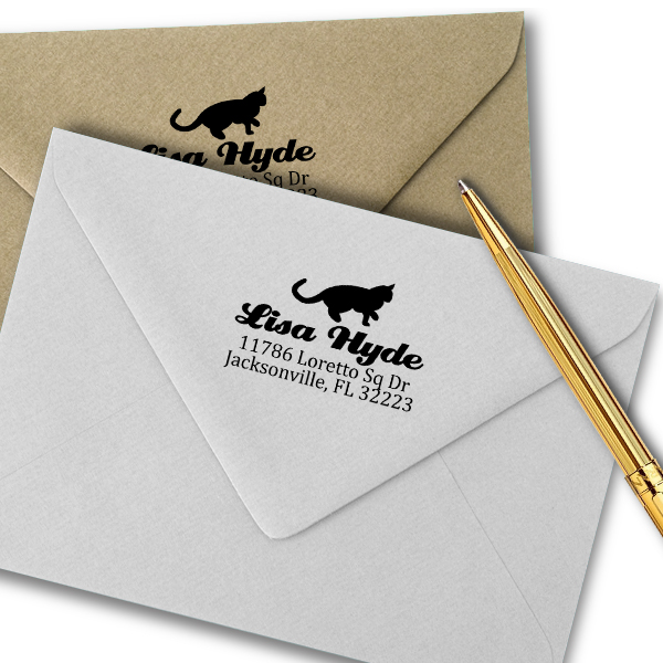 Pouncing Cat Return Address Stamp Imprint Example