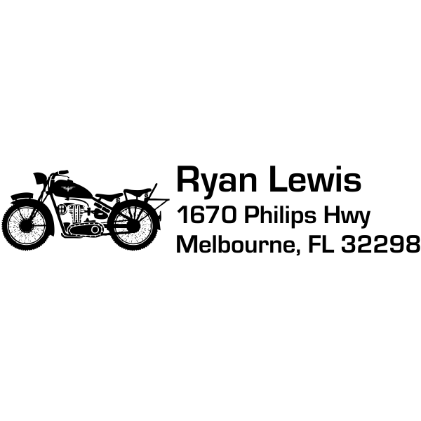 motorcycle rubber custom address stamp